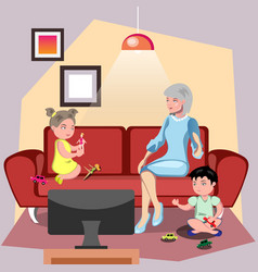 Grandmother sitting in chair with grandchildren vector