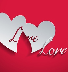 Greeting Card with Hearts Cut from Paper vector image