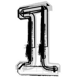 Grunge font number 1 vector image