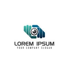 Hand camera lens photography logo design concept vector