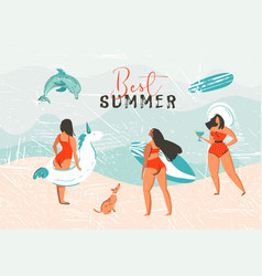 Hand drawn abstract summer time vector