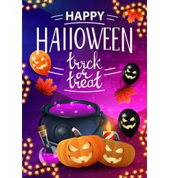 happy halloween trick or treat vertical greeting vector image