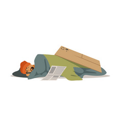 Homeless man character sleeping on the street vector