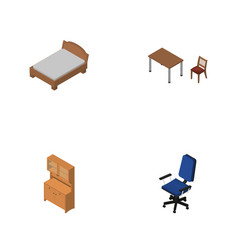Isometric design set of bedstead office chair vector