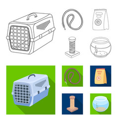 Leash feed and other zoo store productspet shop vector