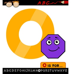 letter o with octagon cartoon vector image