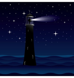 Lighthouse silhouette at night vector