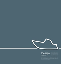 Logo of yacht in minimal flat style line vector image