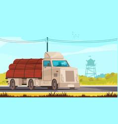 Lumberjack transport cartoon composition vector
