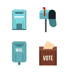 mail box icon set flat style vector image