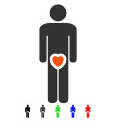 Male genitals love flat icon vector