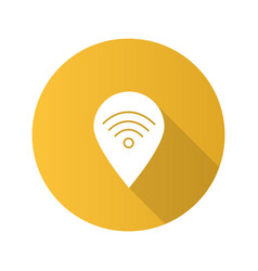 Map pinpoint with wifi signal inside flat design vector