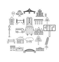 mart icons set outline style vector image