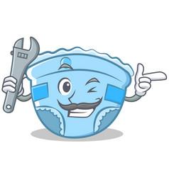 Mechanic badiaper character cartoon vector