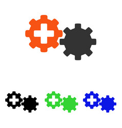 Medical process gears flat icon vector