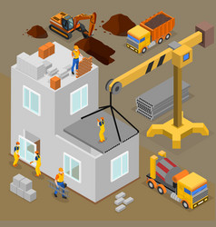 Modern construction isometric composition vector