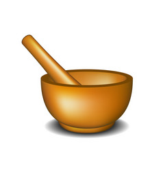 Mortar and pestle in wooden design vector