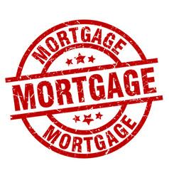 Mortgage round red grunge stamp vector