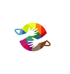 my planet hands embracing symbol logo vector image