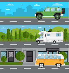 Off road car camper van and retro bus on highway vector