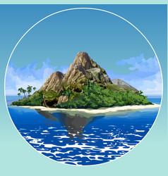 painted beautiful tropical island with mountains vector image