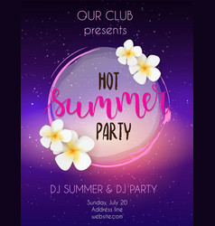 Party poster template hot summer party vector