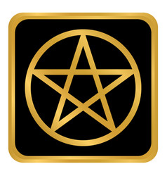 Pentagram button on white vector