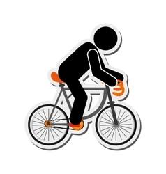 Person riding bike icon vector