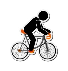 person riding bike icon vector image