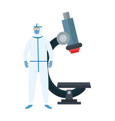 person with biohazard suit and microscope vector image