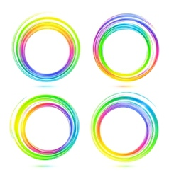 Rainbow abstract circle frames set vector image