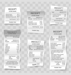 realistic paper shop receipts set vector image