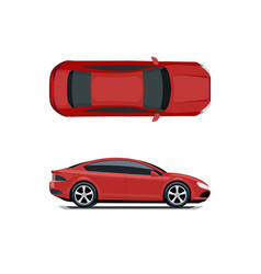 red car view from above and from the side vector image