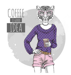 Retro hipster fashion animal tiger with coffee vector