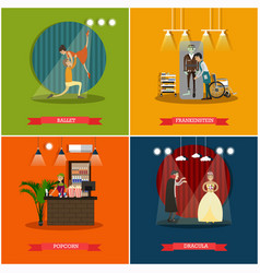 set of cinema art concept posters in flat vector image
