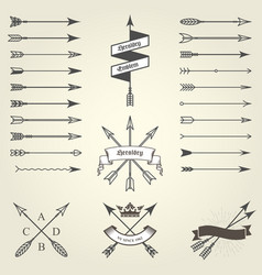 Set of emblems and blazons with arrows heraldic vector