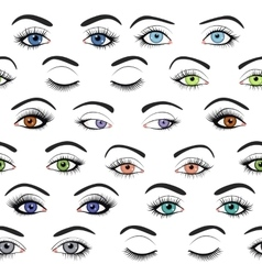 Set of female eyes and brows seamless vector