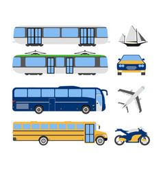 set of flat urban transport icon cartoon vector image
