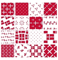 Set of stylized patterns of danish flag vector