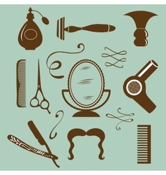 Set of vintage barber shop and hairdresser vector