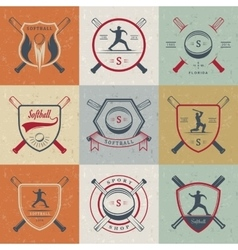 Set Softball Badges and Logos vector
