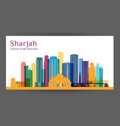 sharjah city architecture silhouette colorful vector image