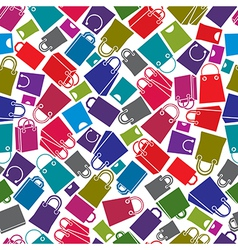 Shopping bags seamless background icon set vector image
