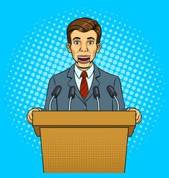 speaking puppet on tribune pop art style vector image