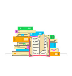 Stack books with open book flat vector