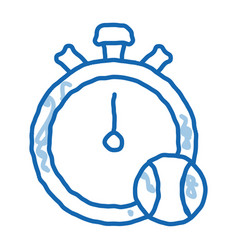 Stopwatch ball doodle icon hand drawn vector