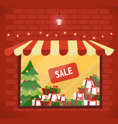 storefront with christmas gifts sale store vector image