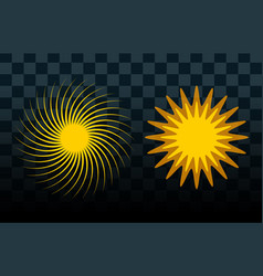 sun burst star icon set summer vector image