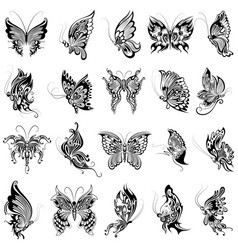 Tattoo art design of butterfly collection vector
