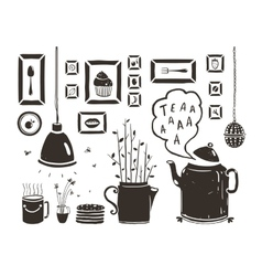 Teapot Lamp Vase Kitchen Still Life Art Frames on vector image